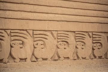 Detail of the Chan Chan walls in Trujillo, Peru.