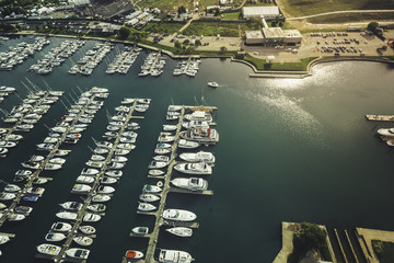Aerial view of Marina full of Boats
