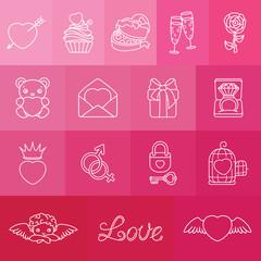 Set of romantic symbols for Valentin's Day