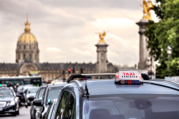 Parisian taxi sign. Paris, France.