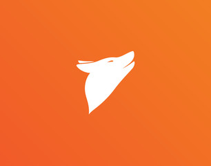 Fox Logo Icon on Orange Backgrond - Isolated Illustration