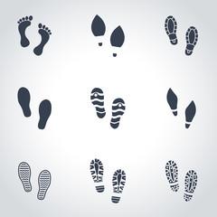Vector black shoes imprints icon set. Shoes Imprints Icon Object, Shoes Imprints Icon Picture, Shoes Imprints Icon Image - stock vector