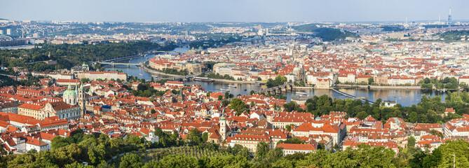 Prague, Czech Republic. View of Mala Strana, Charles Bridge, Vltava River and Stare Mesto from Petrin hill. Landmark of Bohemia.