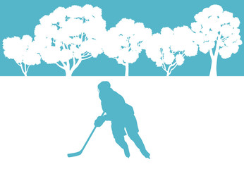 Ice hockey player in winter landscape vector background