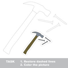 Hammer and nails to be traced. Vector trace game.
