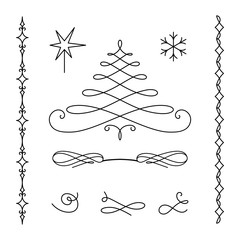 Christmas set of calligraphic decorative elements
