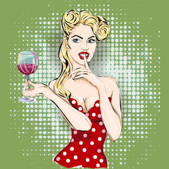 Shhh pop art woman face with finger on her lips and glass of wine