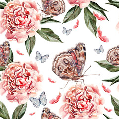 Beautiful watercolor pattern with peony flowers,  butterflies and plants.