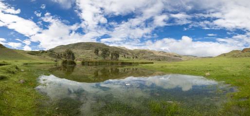 Conococha lake with water reflections, Huaraz in Peru
