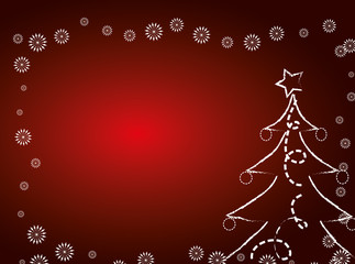 Red Christmas card with christmas tree.