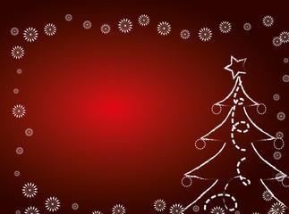 Red Christmas card with christmas tree.