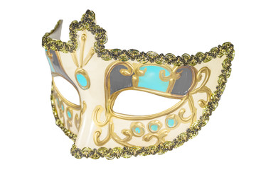 Carnival mask gold-painted curlicues decoration blue and red ins