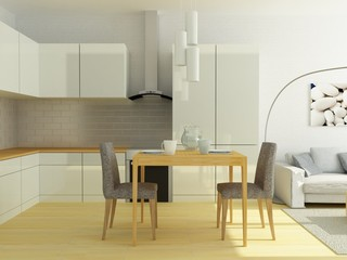 Kitcen combined with sitting room in a small european flat in warm gray and white colors. Sofa, table, chair, kitchen equipment, carpet, decor in modern contemporary style. Nice looking empty room.