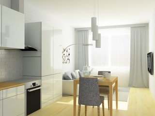 Nice studio in Scandinavian Style, in light and gray colors and light hardwood floor, Dinner table, chairs, sofa, carpet, sunlight.
