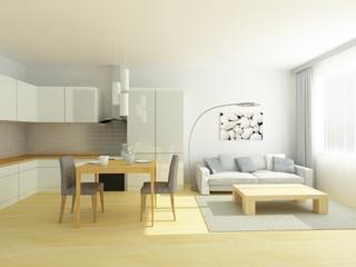 Light modern kitchen in a small flat, studio. Dinner table, light hardwood floor, complete white kitchen, gray walls