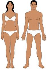 Black ethnic Man and Woman body illustration