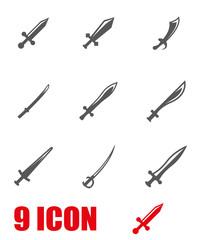 Vector grey sword icon set. Sword Icon Object, Sword Icon Picture, Sword Icon Image - stock vector