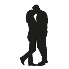Couple kissing silhouette. In love
