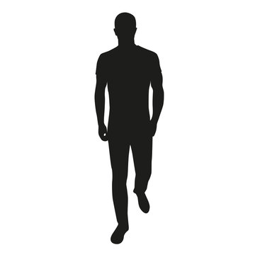 Man walking ahead in jeans and shirt. Vector silhouette