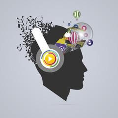 Abstract creative open head. Genius mind. Music artist. Vector