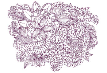 Vector doodle bouquet of flowers