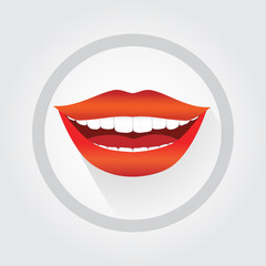 Woman's smile symbol. Happy smiling woman vector illustration
