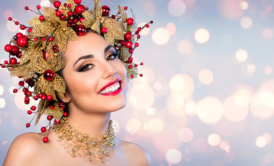 Christmas Woman - Fashion Model With Golden And Red Hairstyle And Makeup
