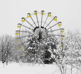 Square radioactive ferris wheel in Prypiat background backdrop