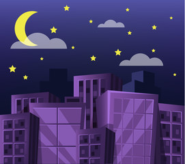 Vector cartoon nights city flat illustration