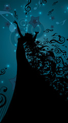 Silhouette of Opera Singer with Hair Like Musical Notes