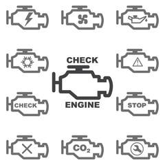 Set auto icons CHECK ENGINE. Vector image.