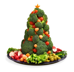 Homemade vegan holiday vegetable platter with broccoli Christmas tree