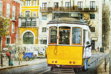 vintage trams in Lisbon. Retro picture