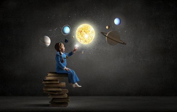Kid girl explore space