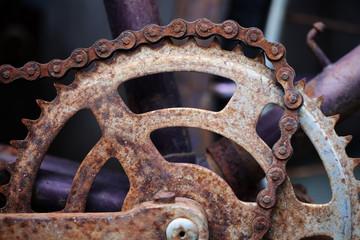 rusty bicycle chain.