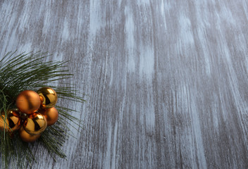 Christmas tree decoration on rustic wooden background