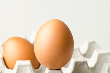 Fresh eggs on egg panel,food ingredient