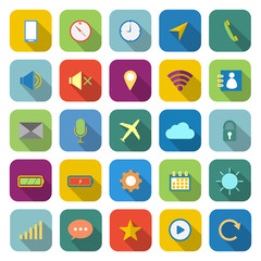 Mobile phone color icons with long shadow