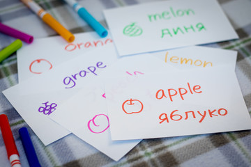 Ukrainian; Learning New Language with Fruits Name Flash Cards