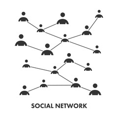 Black icon social network. Vector symbol