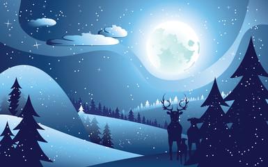 Deers in Winter Forest
