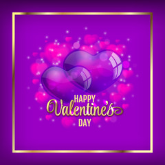 Valentine's day vector background with heart balloons on purple field