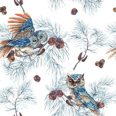 Foto op Canvas Hand getrokken schets van dieren Watercolor Seamless Pattern with Owls