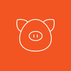 Pig head line icon.