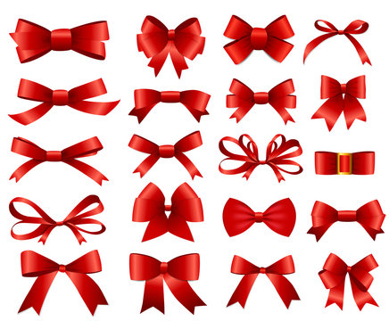 Red Ribbon and Bow Set for Your Design. Vector illustration