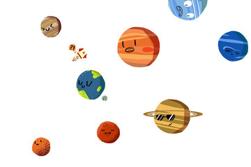 Illustration Sets: The Happy Planets in Solar System isolated. Realistic Fantastic Cartoon Style Artwork / Story / Scene / Wallpaper / Background / Card Design.