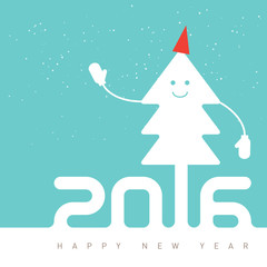 Happy New Year Design with smiling Christmas tree, vector backgr