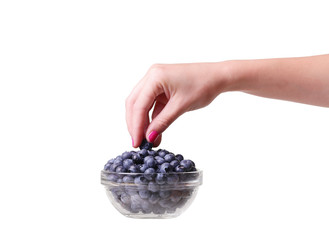 blueberries in a glass