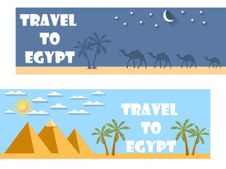Welcome to Egypt. Flat travel banner. Tourism.