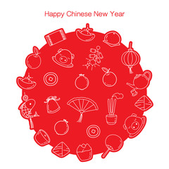 Chinese New Year Outline Icons Set In Circle, Monochrome, Traditional Celebration, China, Happy Chinese New Year